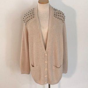 Topshop Spiked Shoulder Cardigan Sweater